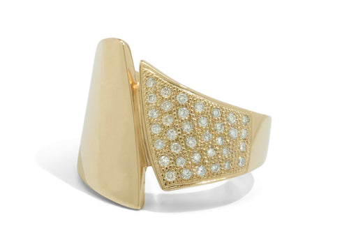 Custom Pave Diamond Asymmetric Ring, Yellow Gold