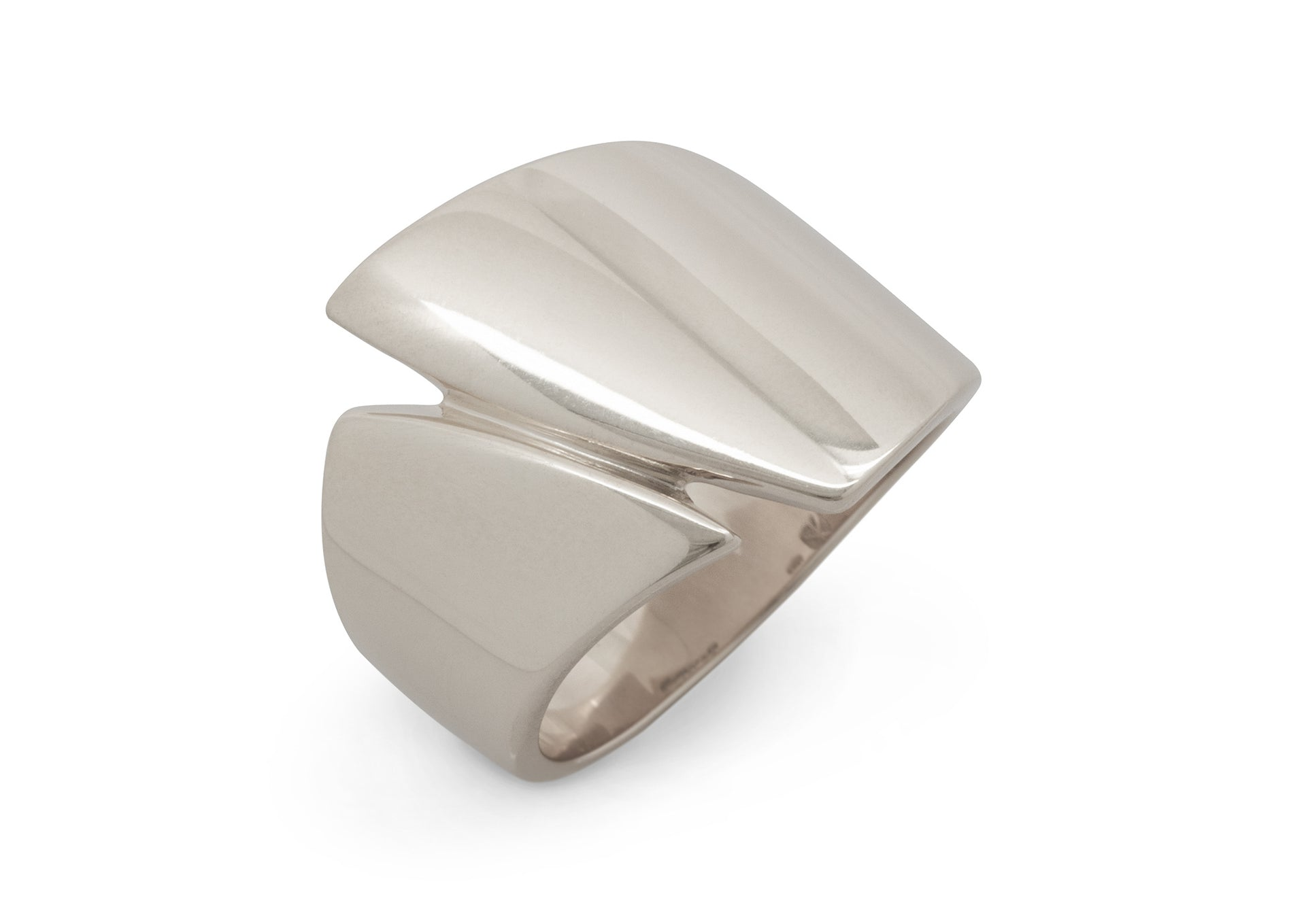 Signature Asymmetric Ring, White Gold & Platinum