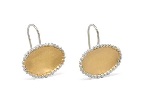 Oval Gold Bond Earrings, Sterling Silver