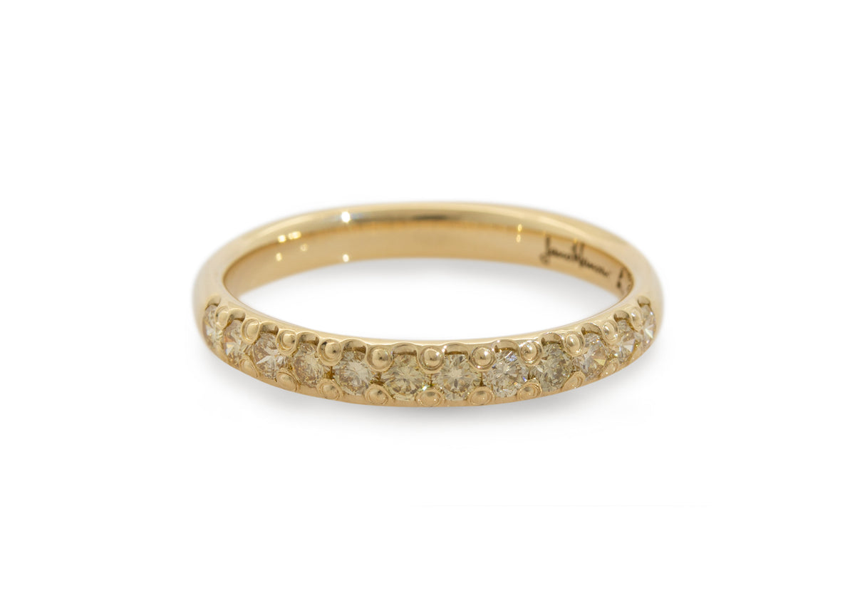 Golden Diamond Pave Band, Yellow Gold