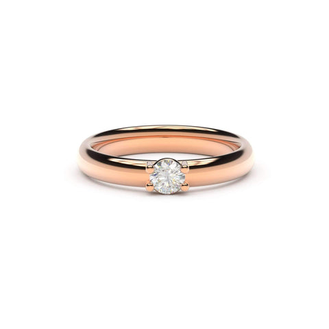 4mm Stone Contemporary Elvish Engagement Ring - Slim, Red Gold, Unengraved   - Jens Hansen