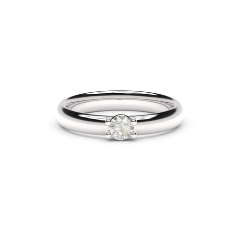 4mm Stone Contemporary Elvish Engagement Ring - Slim, White Gold, Platinum & Palladium, Unengraved   - Jens Hansen