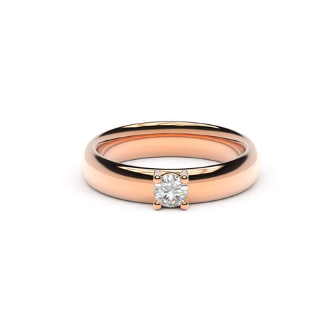 4mm Stone Contemporary Elvish Engagement Ring, Red Gold, Unengraved   - Jens Hansen - 2