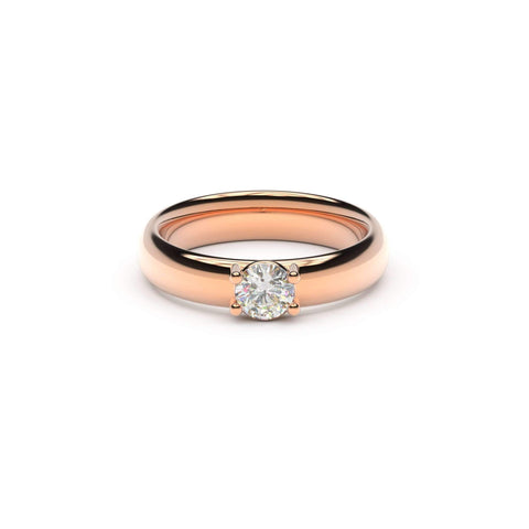 5mm Stone Contemporary Elvish Engagement Ring, Red Gold, Unengraved   - Jens Hansen