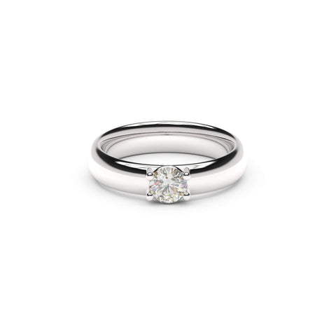 5mm Stone Contemporary Elvish Engagement Ring, White Gold, Platinum & Palladium, Unengraved  - Jens Hansen