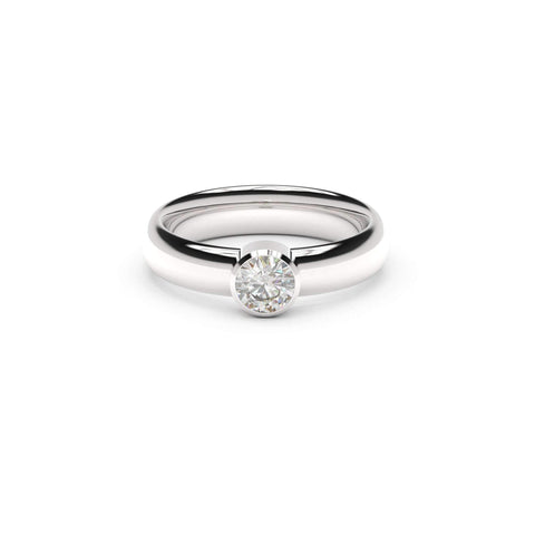 5mm Stone Modern Elvish Engagement Ring, White Gold, Platinum & Palladium, Unengraved   - Jens Hansen - 1