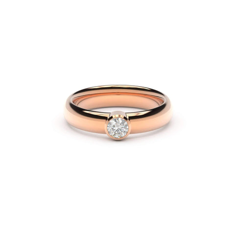 4mm Stone Modern Elvish Engagement Ring, Red Gold, Unengraved   - Jens Hansen