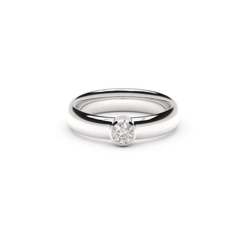 4mm Stone Modern Elvish Engagement Ring, White Gold, Platinum & Palladium, Unengraved   - Jens Hansen - 2