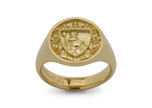 Custom Frog Crest Signet Ring, Yellow Gold