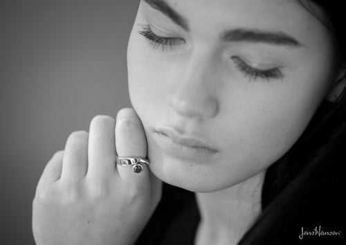 Asymmetric Gemstone Ring, White Gold & Platinum