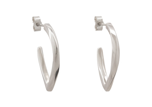 Twisted Block Earrings, Sterling Silver