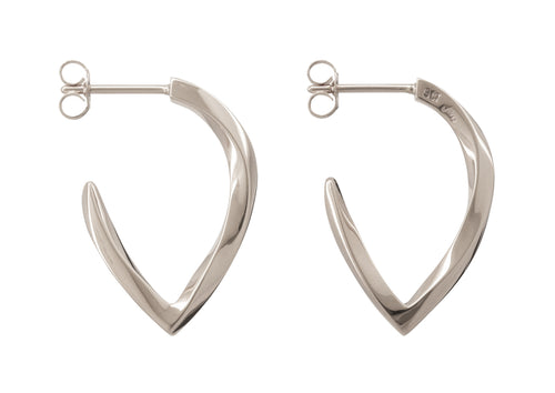 Twisted Block Earrings, White Gold & Platinum