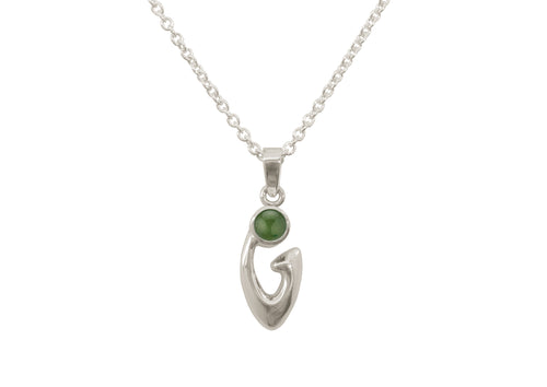 Free Form Cabochon Gemstone Pendant, White Gold
