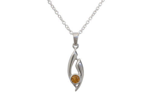 Flowing Gemstone Pendant, Sterling Silver