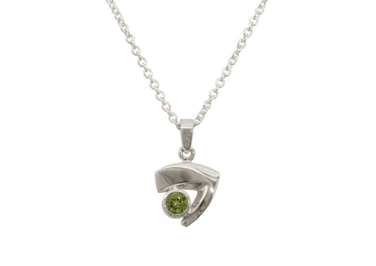 Signature Gemstone Pendant, White Gold