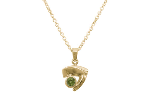 Signature Gemstone Pendant, Yellow Gold