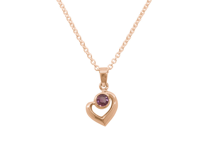 Abstract Heart Gemstone Pendant, Red Gold