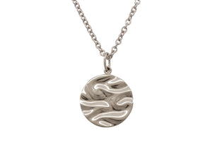 Silk Wave Pendant, White Gold & Platinum