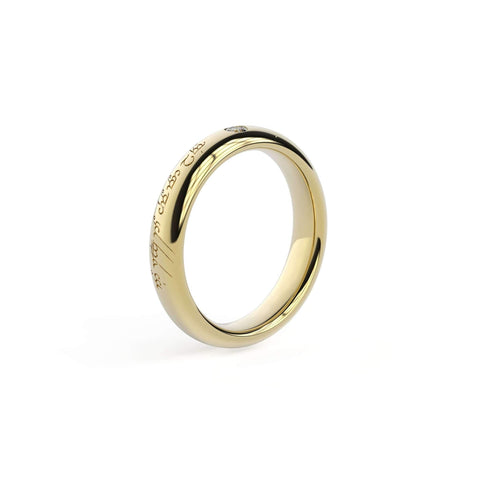 2.5mm Stone Sleek Elvish Engagement Ring, Yellow Gold   - Jens Hansen