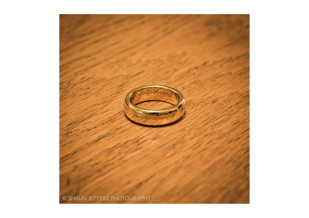 The Lord of the Rings: The One Ring: Gold Plated Tungsten Carbide (with Elvish runes)