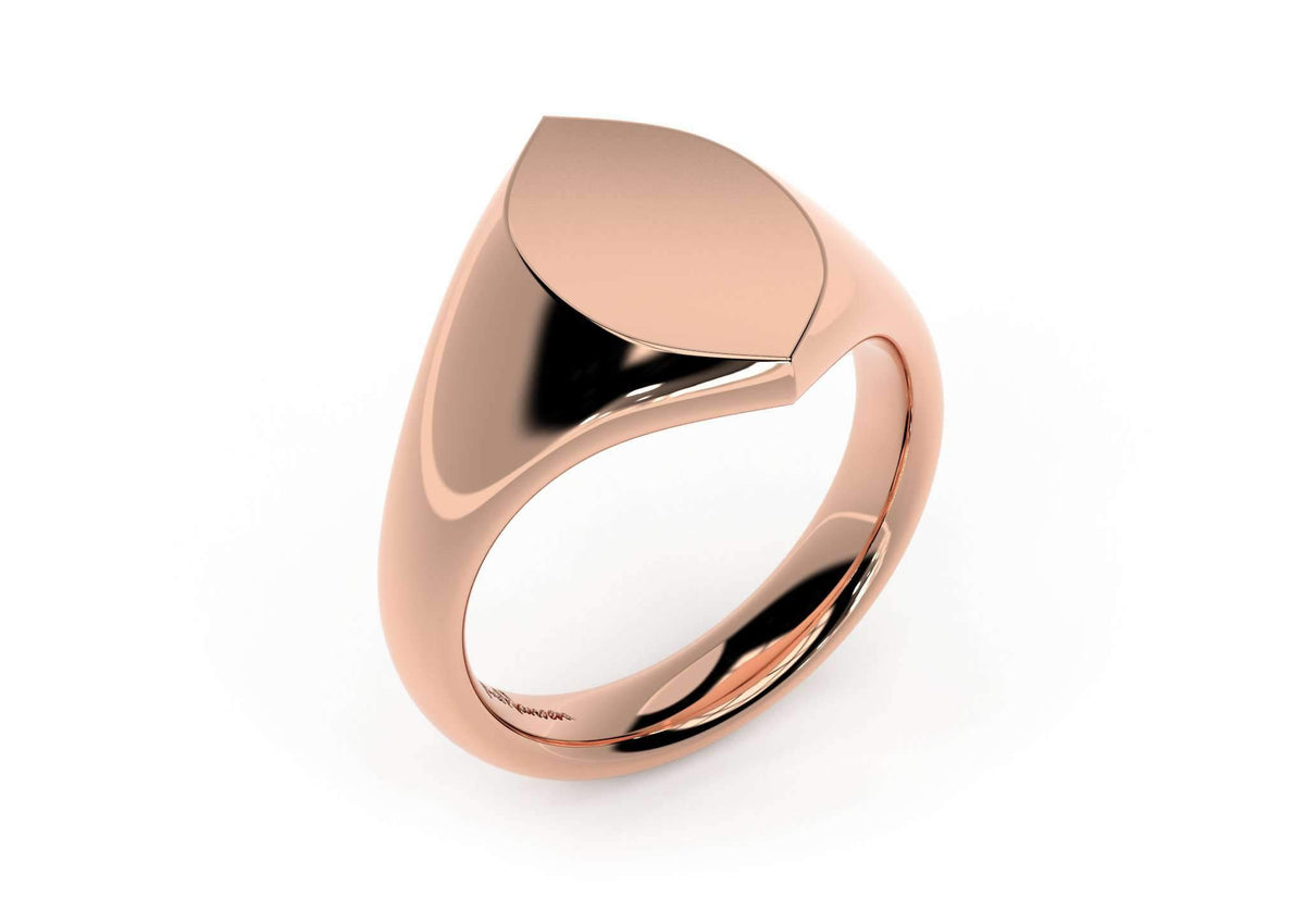 Navette Signet Ring, Red Gold
