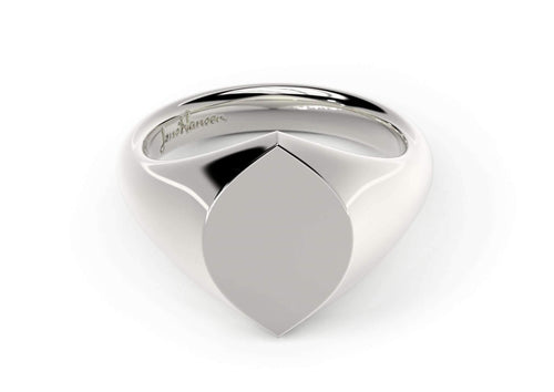 Navette Signet Ring, White Gold, Platinum & Palladium