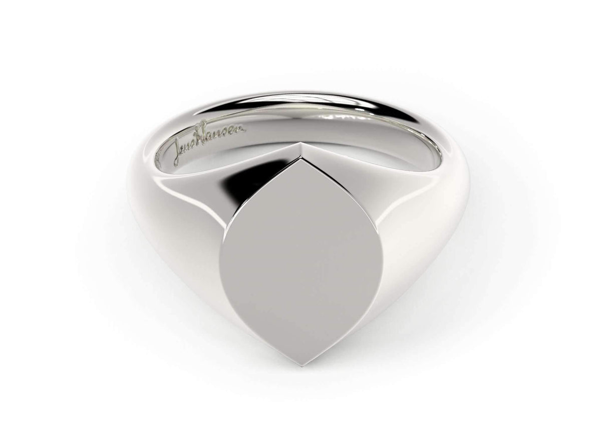 Navette Signet Ring, White Gold & Platinum