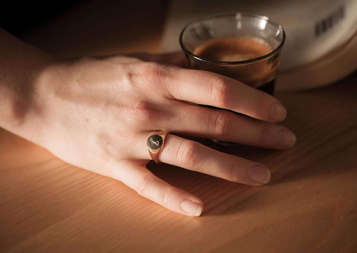 Oval Signet Ring, Red Gold