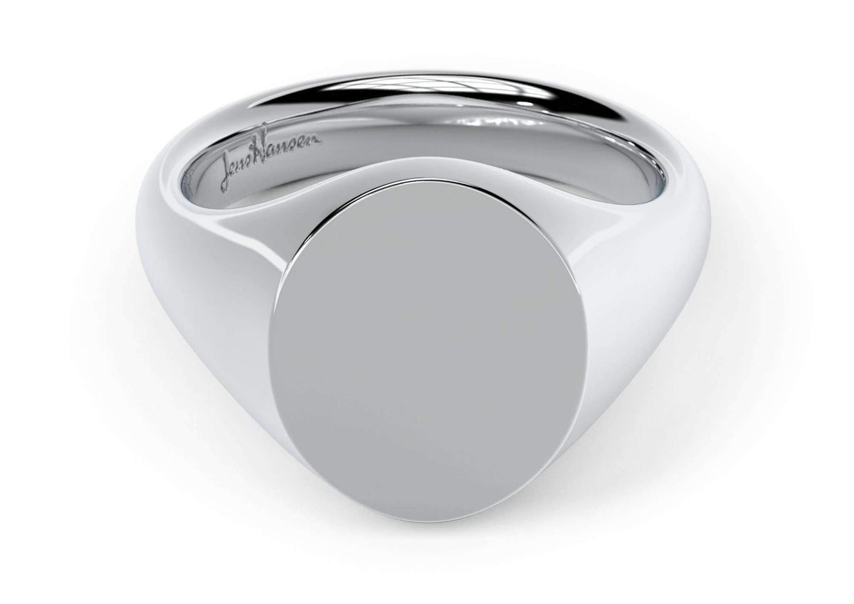 Oval Signet Ring, White Gold & Platinum
