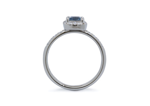 Custom Princess Sapphire & Diamond Halo Ring, Platinum
