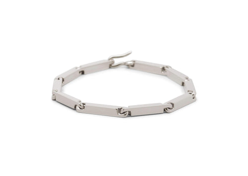 Hand Crafted Block Bracelet, White Gold & Platinum