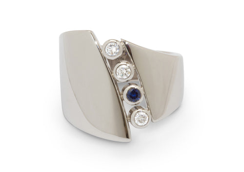 Custom Diamond & Sapphire Asymmetric Ring, Platinum