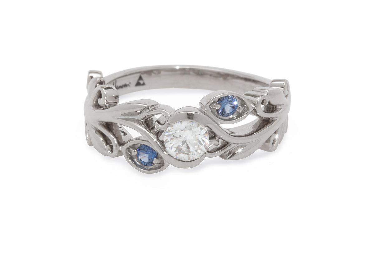 Custom Three-Stone Diamond & Sapphire Vine Ring, White Gold