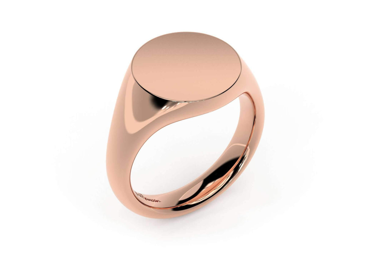 Round Signet Ring, Red Gold