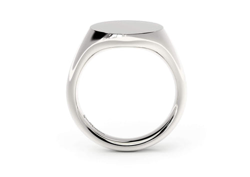 Round Signet Ring, White Gold & Platinum