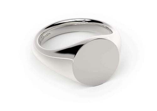 Round Signet Ring, White Gold, Platinum & Palladium