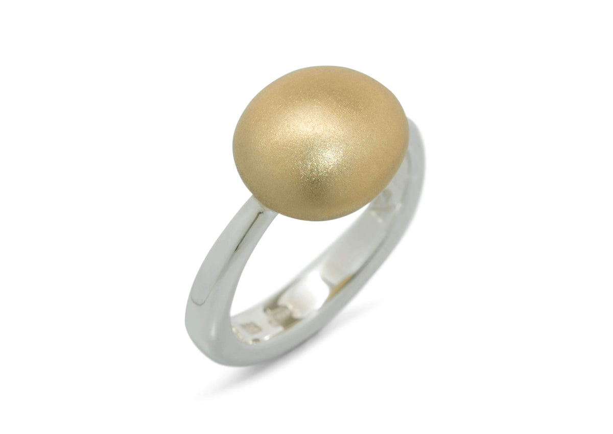 Bi-Tone Button Ring, Yellow Gold & Sterling Silver