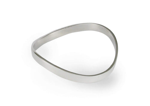 Flat Wave Bangle, Sterling Silver