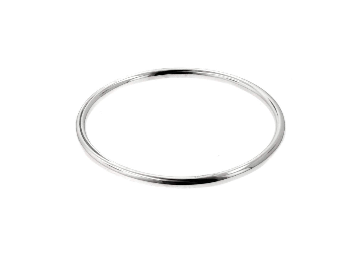 Round Bangle, Sterling Silver