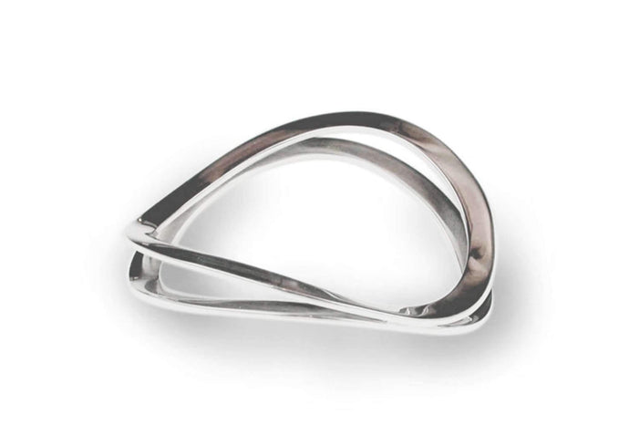 Flat Twin Wave Bangle, Sterling Silver