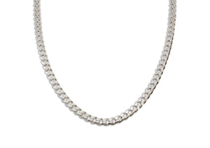 Beveled Edge Diamond Cut Curb Chain, Sterling Silver