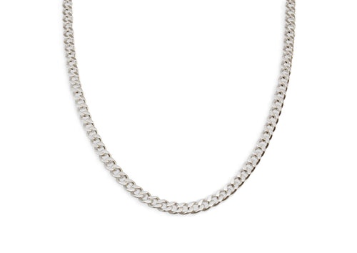 Diamond Cut Curb Chain, Sterling Silver