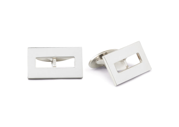 Rectangular Cut Out Cufflinks, Sterling Silver