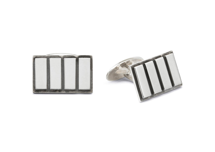 Rectangular Four Stripe Cufflinks, Sterling Silver