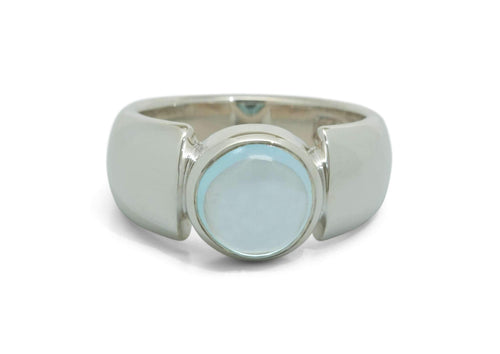 Round Cabochon Gemstone Ring, Sterling Silver