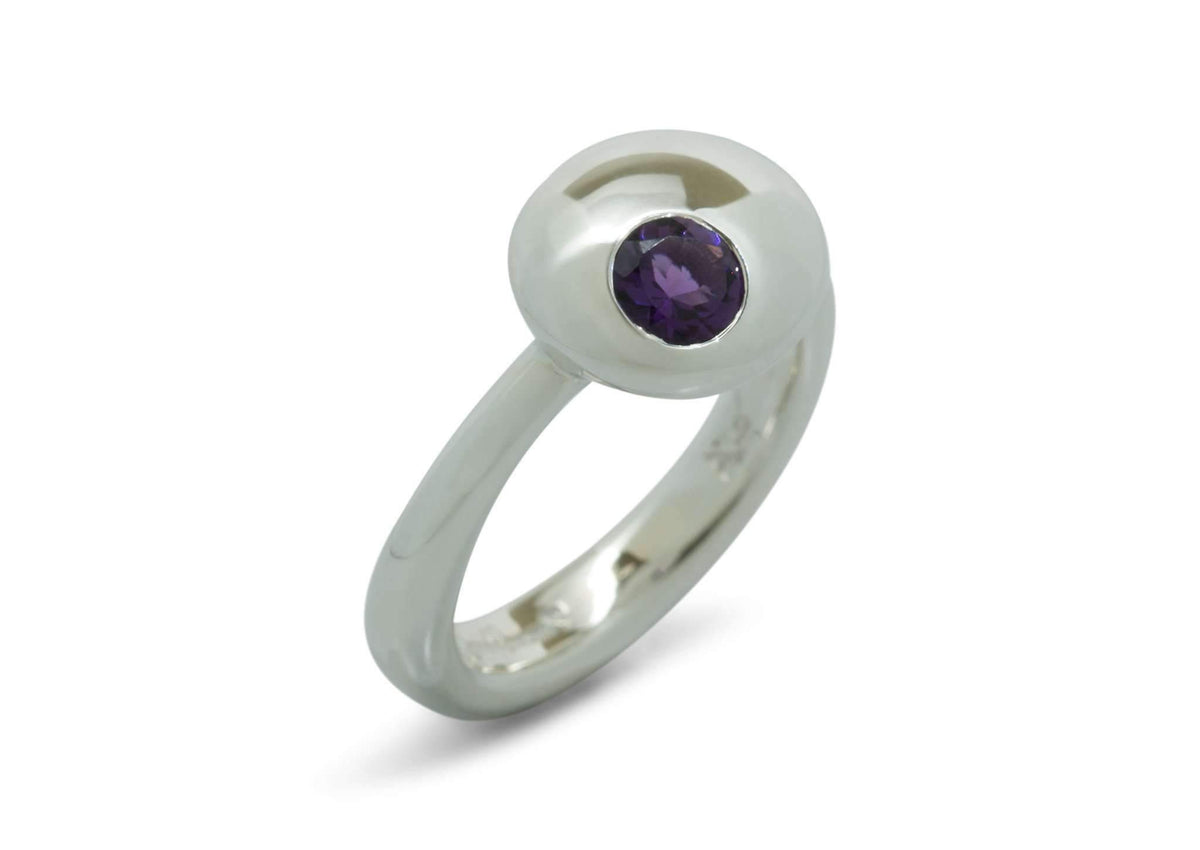 Button Ring with Coloured Gem, Sterling Silver