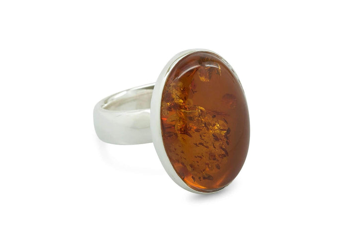 Oval Amber Ring, Sterling Silver