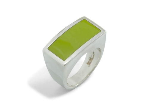 Rectangle Resin Rings, Sterling Silver