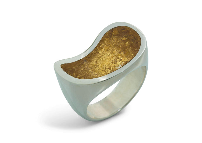 24ct Gold Leaf Flowing Resin Rings, Sterling Silver