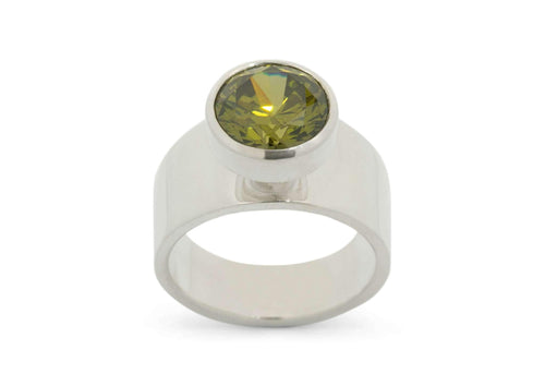 Round Chimney Gemstone Ring, Sterling Silver
